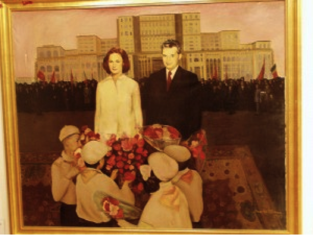 Propaganda painting with the Ceausescu couple and their 'House' in the background